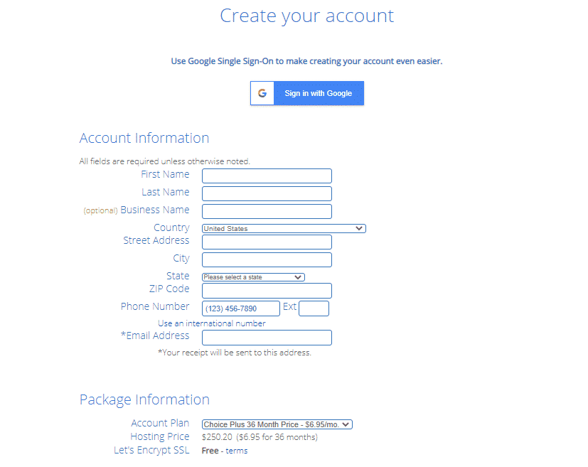 creating your bluehost acount