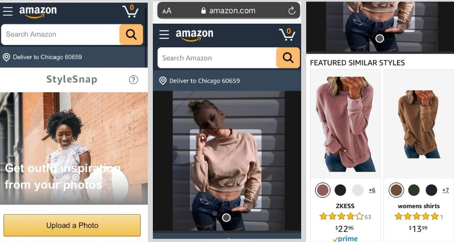 StyleSnap image search on the Amazon website