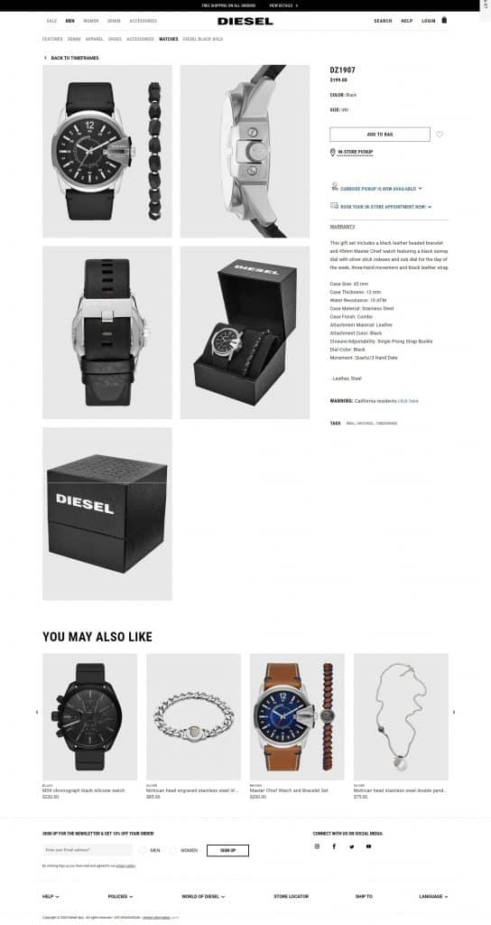 Personalization section on the Diesel website