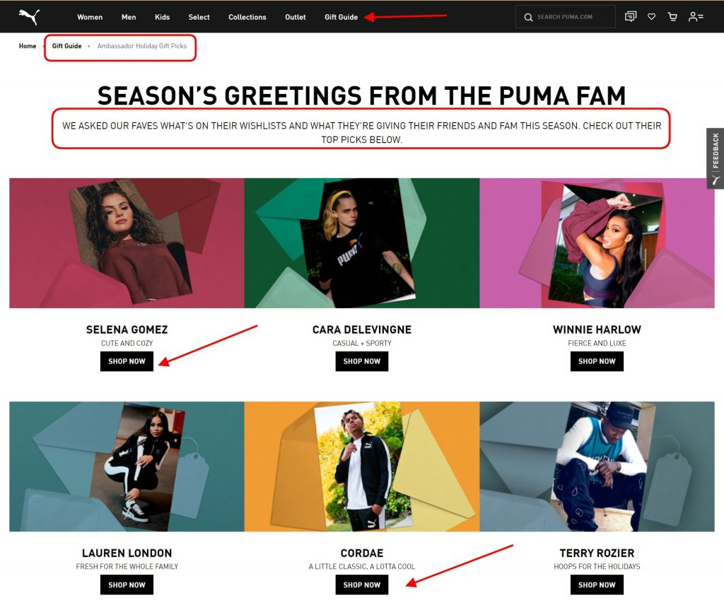 Gift recommendations from influencers on the Puma website