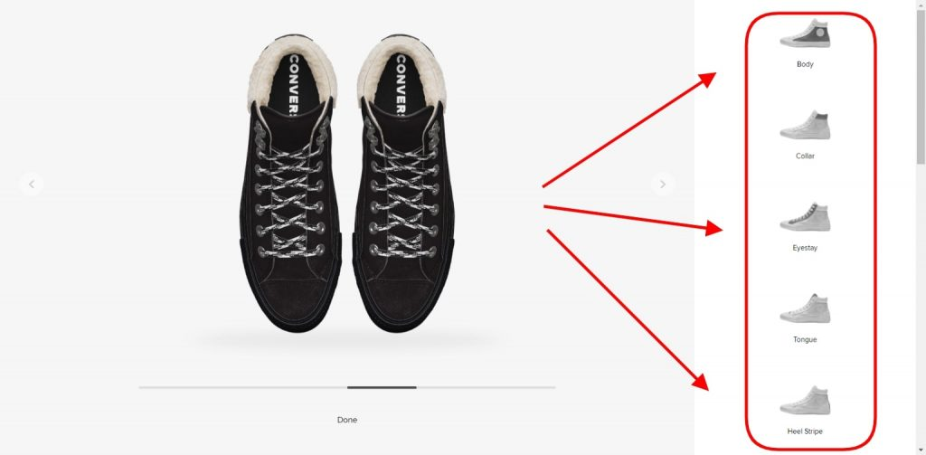 Product customizer on the Converse website