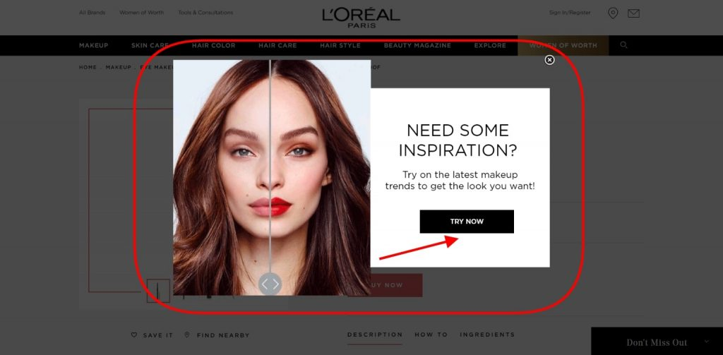 Virtual try-on feature on the L'Oreal Paris website