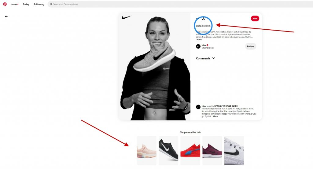 Product pin on the Nike Pinterest